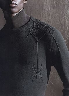"""dduane: WANT. (from the fall/winter 2014 Le Monde d'Hermès magazine: """"447140HA11: Crew-neck sweater in khaki cashmere with spider embroidery"""".)"""