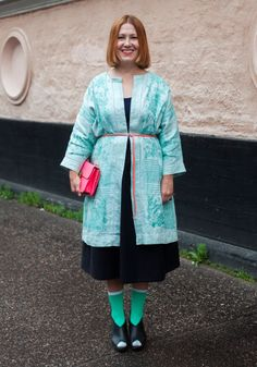 Hanna - Hel Looks - Street Style from Helsinki @Emma Zangs Zangs Makes Look at this cute jacket made from a tablecloth.... :)