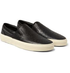 Saint Laurent Baby Cat-Print Leather Slip-On Sneakers