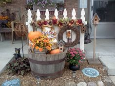 All ready for Fall! Dry brushed half of a cedar picket fence sheet (4 x 8 ft) and attached to steel rods for stability. I intend to change it according to seasons. Love how this looks!!!