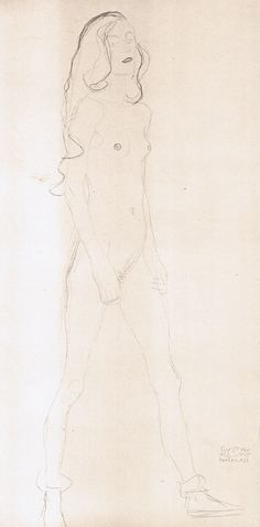 Study of a standing nude - Gustav Klimt Gustav Klimt, Klimt Art, Life Drawing, Figure Drawing, Vintage Artwork, Word Art, Portraits, Photo Art, Art Nouveau