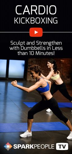Work your whole body with this amazing cardio kickboxing routine. Sculpt and strengthen with dumbbells in less than 10 minutes!