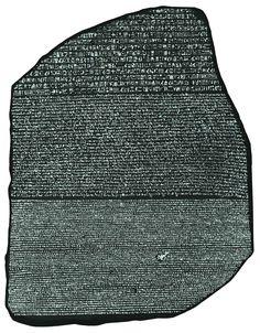 La piedra Rosetta. Símbolo de la mediación entre códigos. Escritura jeroglífica, demótica egipcia y griego antiguo.