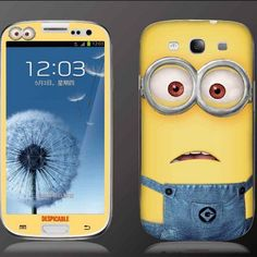Despicable me Minions Minnie Hello Kitty Glitter Powder Shining Front Back Protective Skin Sticker for Samsung Galaxy S3 i9300