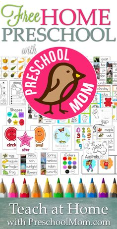 Free Home Preschool from PreschoolMom.com.  Hundreds of free printables, themes, and teaching resources all organized  by subject and available FREE!