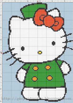Hello Kitty Solo Patrones Punto Cruz | Aprender manualidades es facilisimo.com