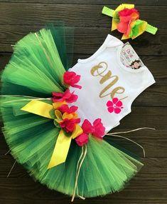 5e395cd0d718 Girls First Birthday Tutu, Luau, Luau Birthday Outfit, ONE Birthday, Baby  Girl Luau Outfit, Luau Party