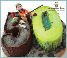 Turning 50 fisherman birthday cake