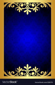 Gold and blue floral frame vector image on VectorStock Birthday Background Images, Photo Background Images Hd, Photo Frame Download Free, Wedding Album Cover, Certificate Background, Prince Birthday Party, Boarder Designs, Album Cover Design, Royal Blue And Gold