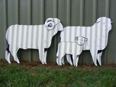 Sheep SET Aussie Handpainted Corrugated Iron Garden Ornament Yard Art Sculptures in Home & Garden, Yard, Garden & Outdoor Living, Garden Décor | eBay