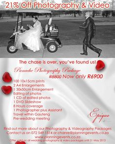 21% discount on Wedding Photography and Video in Gauteng.
