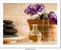 """Spa products - day spa products with stones, oil container, flowers"" - Art Print from FreeArt.com"