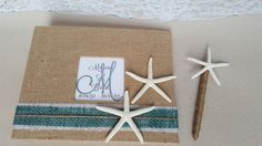 Starfish Funeral Guest Book & Pen Set- In Memory of, Celebration of Life, Wake, Memorial, Sign In- Burlap Beach Nautical Coastal Guestbook by ParadiseBridal on Etsy