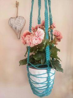 Macramé pot holder, kashpo,  colour plant hanger, home decoration,  mother gift, friend gift, garden, balcony decor, home flowers.