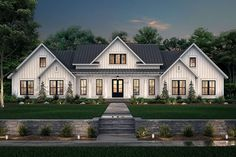 Find your dream modern-farmhouse style house plan such as Plan which is a 3086 sq ft, 4 bed, 3 bath home with 3 garage stalls from Monster House Plans. Modern Farmhouse Exterior, Modern Farmhouse Style, Country Farmhouse, Farmhouse Bedrooms, Farmhouse Style Homes, Modern Farmhouse Floor Plans, Country Homes, Craftsman Farmhouse, Urban Farmhouse
