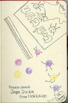 "2013_01_12_potato_01 北海道のじゃがぴりか。 ""Jaga Pirika"" is Japanese potato snack. Very nice! For this piece I used: Sakura Pigma, Faber-Castell Polychromes and Moleskine sketchbook. © Belta(WAKABAYASHI Mayumi) Do not use this image without permission."