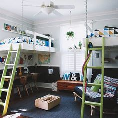 Love this boys' room - especially DIY lofted beds , pails, and two sides to every story wall print !