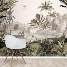 Bring the tropics into your home with this made to measure Leopard Landscape wallpaper. FREE UK delivery within 2 to 4 working days. Palm Leaf Wallpaper, Wallpaper Uk, Tropical Wallpaper, Wallpaper Murals, Wallpaper Ideas, Landscape Walls, Landscape Wallpaper, Wall Painting Living Room, Tropical Plants