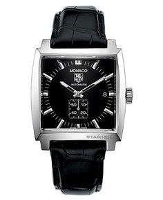 Only the best and the brightest: a dressy Tag Heuer Monaco watch. | Croc-embossed black leather strap | Square stainless steel case, 37mm | Black dial with silver-tone stick indices, logo, subdials, t