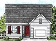 This inviting ranch style home with a small footprint (House Plan has over 1090 square feet of living space. The one story floor plan includes 2 bedrooms. Country House Plans, New House Plans, Small House Plans, Small Country Houses, Small Cottages, Small Tiny House, Tiny Houses, Dream Houses, Monster House Plans