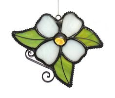 Stained Glass WHITE DOGWOOD Flower with by stainedglasswhimsy, $18.00