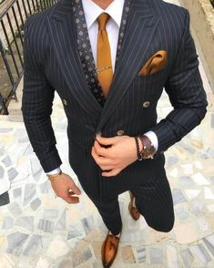 2018 Black Stripe Suits Men Double Breasted Formal 2 Piece Jacket Blazer is part of Suit fashion - 2018 Black Stripe Suits Men Double Breasted Formal 2 Piece Jacket Blazer for wedding prom casual outfit Mode Masculine, Sharp Dressed Man, Well Dressed Men, Business Casual Herren, Mode Costume, Herren Outfit, Fashion Mode, Style Fashion, Fashion Clothes