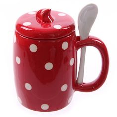 Ceramic Red & White Polka Dot Mug With Lid & Spoon