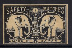 OLD MATCHBOX LABEL BOX SIZE JAPAN TWO ELEPHANTS & LIGHT DIFFERENT V1
