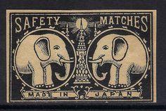 OLD MATCHBOX LABEL BOX SIZE JAPAN TWO ELEPHANTS & LIGHT DIFFERENT V1