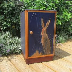 ALREADY SOLD but similar pieces may be available by commission. Vintage oak cabinet with original painting, signed by artist Christopher Fry by HoneyBadgerFurniture on Etsy