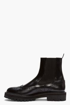 JUUN.J Black Leather Chelsea Wingtip Brogue Boots