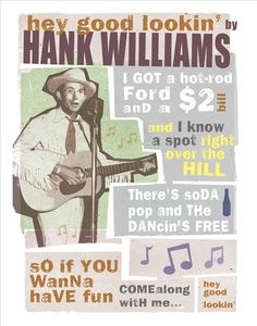 Hank Williams  Hey Good Lookin  Country Music Poster by aswegoArts, $17.50