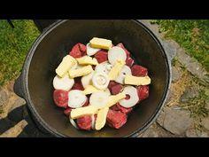 (457) МЯСО ПО-КРЕМЛЕВСКИ В КАЗАНЕ НА КОСТРЕ - YouTube Fruit Salad, Pasta Salad, Sausage, Food And Drink, Cooking Recipes, Cheese, Meals, Chicken, Ethnic Recipes
