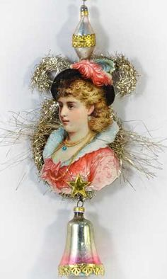 Lady with Feather Hat Tinsel Ornament with Glass Bell  http://victorianornaments.com