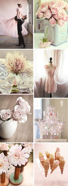 pale pink weddings - just for colour ideas (pale pink, cream, pale blue/turquoise or soft mint green) - Vintage