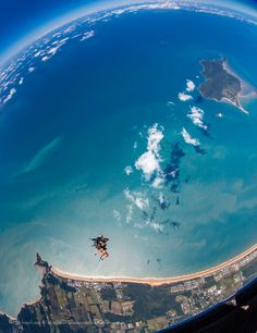 Bucket List: Checking out the awesome ocean views, skydiving over beautiful Mission Beach. #SkydiveAustralia #skydive #bucketlist #adventure #travel #Australia #photo