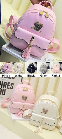 Leisure Lotus Leaf School Backpack PU Girls Tassels Pink Rabbit Ear Backpack  for big sale! 05526b51054fd