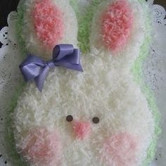 Make eyes larger and blue and a mouth would be better.  Just a suggestion.  Bunny Cake {Easter Dessert}