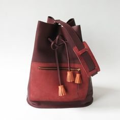 Zig Zag leather bag Burgundy red tassels leather bag by LaLisette, $229.00
