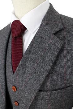 3-Piece Mens Suit Herringbone Tweed Suit Retro Grey Wool Suit-Suit-LeStyleParfait.Com