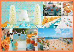 "Pantone colour of the year ""Tangerine Tango"" and Aqua inspiration board  http://www.bellaeventi.com.au"