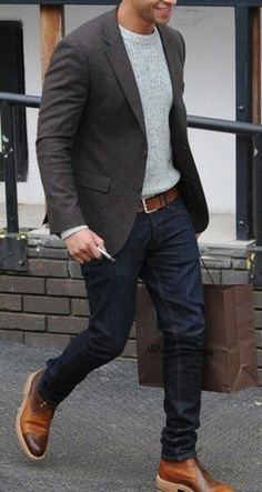 gray jacket. light gray sweater. jeans. brown belt/brogues. dapper.
