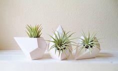 Geometric planter trio, MINI teardrop air plant holders, faceted mini plant…