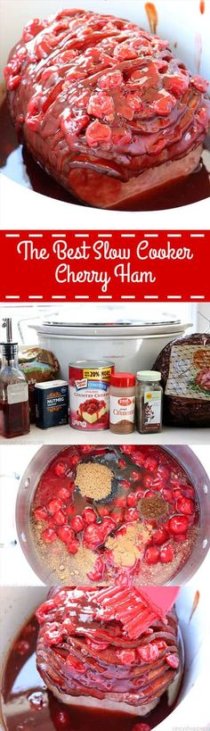 This right here is The Best Slow Cooker Cherry Ham! Not your traditional ham recipe but your family will LOVE it! Great for holidays like Christmas and Easter. Best Slow Cooker, Slow Cooker Recipes, Crockpot Recipes, Ham Recipes, Cooking Recipes, Holiday Ham, Holiday Recipes, Cherry, Yummy Food