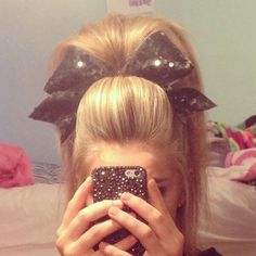 I freaking love cheer hair! Cheer Stunts, Cheerleading Hair, Cheer Makeup, Competition Hair, Love Hair, Big Hair, Cheer Bows, About Hair, Hair Dos