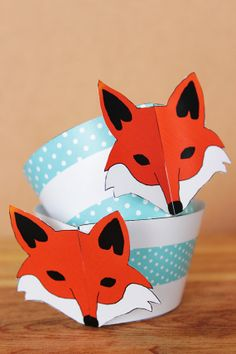 Printable 3D woodland fox cupcake wrapper and topper set by Northern Whimsy on Etsy.
