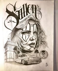 Chicano Style Tattoo, Chicano Love, Chicano Tattoos, Chicano Drawings, Tattoo Drawings, Arte Lowrider, Graffiti, Cholo Art, Prison Art