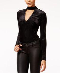 Material Girl Juniors' Shadowstripe Velvet Bodysuit, Only at Macy's | macys.com