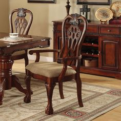Furniture of America Harper Cherry Arm Chair (Set of 2) - Overstock™ Shopping - Great Deals on Furniture of America Dining Chairs
