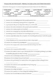 English worksheet: Character and personality - idioms (FCE level)